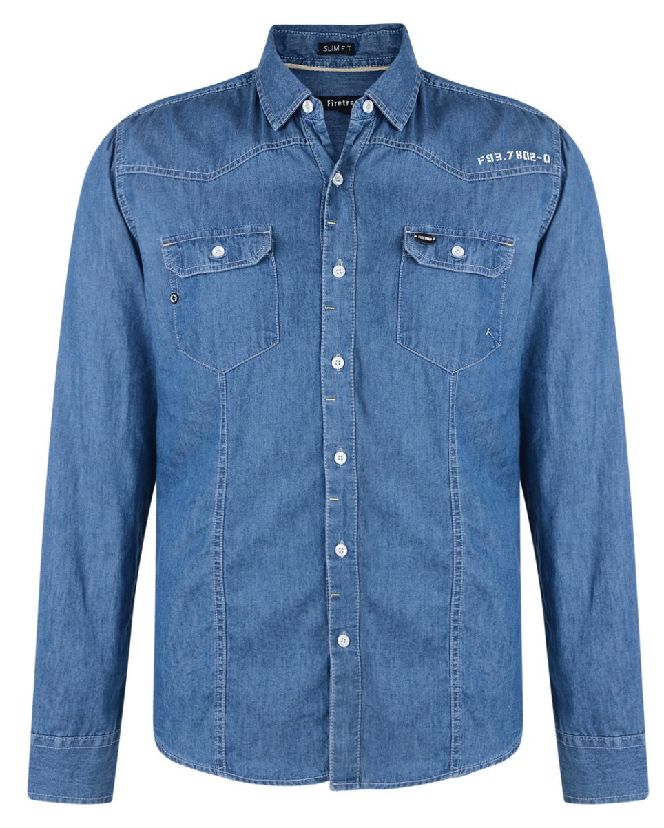 Firetrap Chambray Denim Shirt New Mens Slim Fit Long