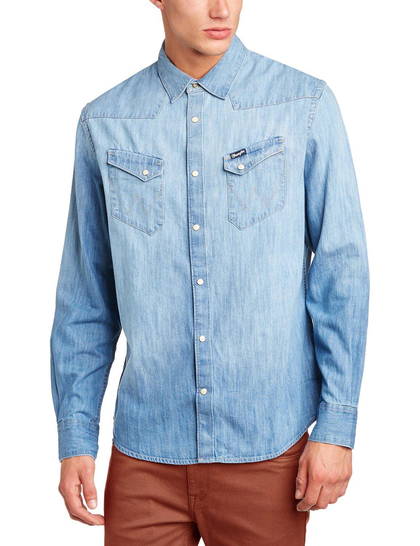 Wrangler denim shirt new western light dark indigo blue for Wrangler denim shirts uk