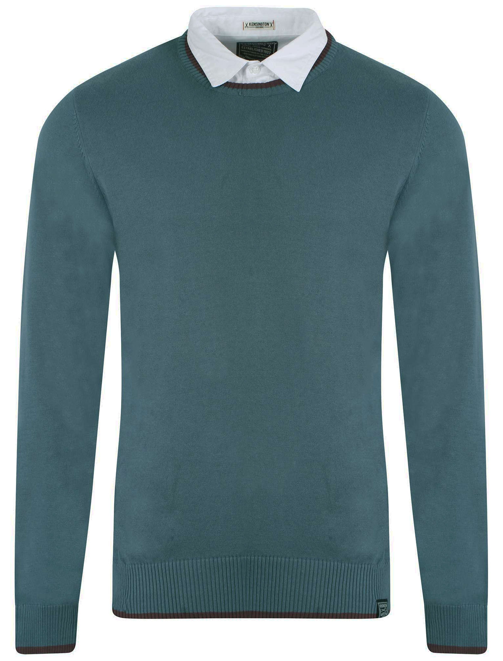 Kensington mens shirt insert white collar crew neck jumper for Crew neck sweater with collared shirt