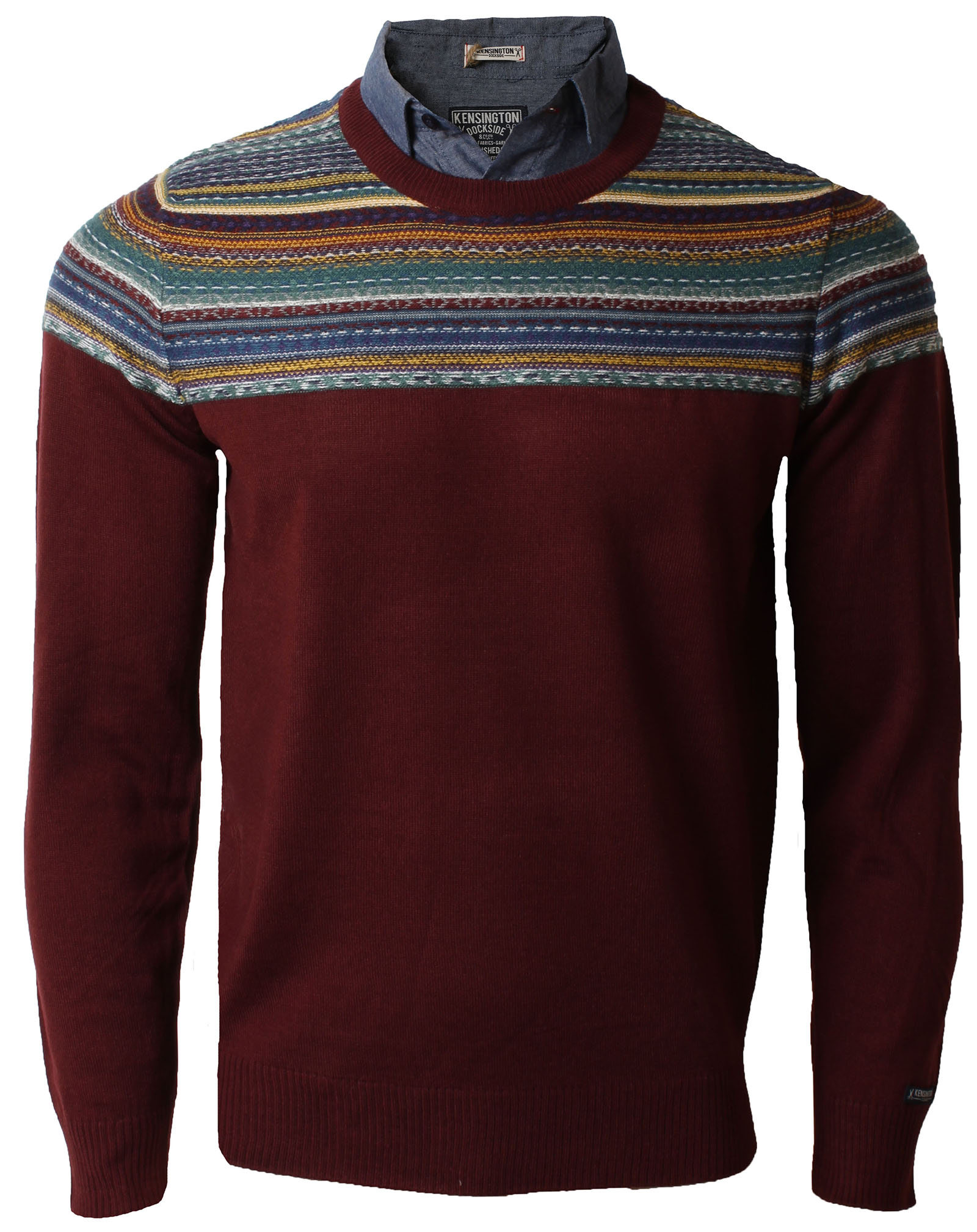 Kensington mens shirt collar insert crew neck nordic for Crew neck sweater with collared shirt