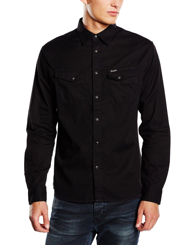 Wrangler denim shirt new men s heritage western black jean for Wrangler denim shirts uk