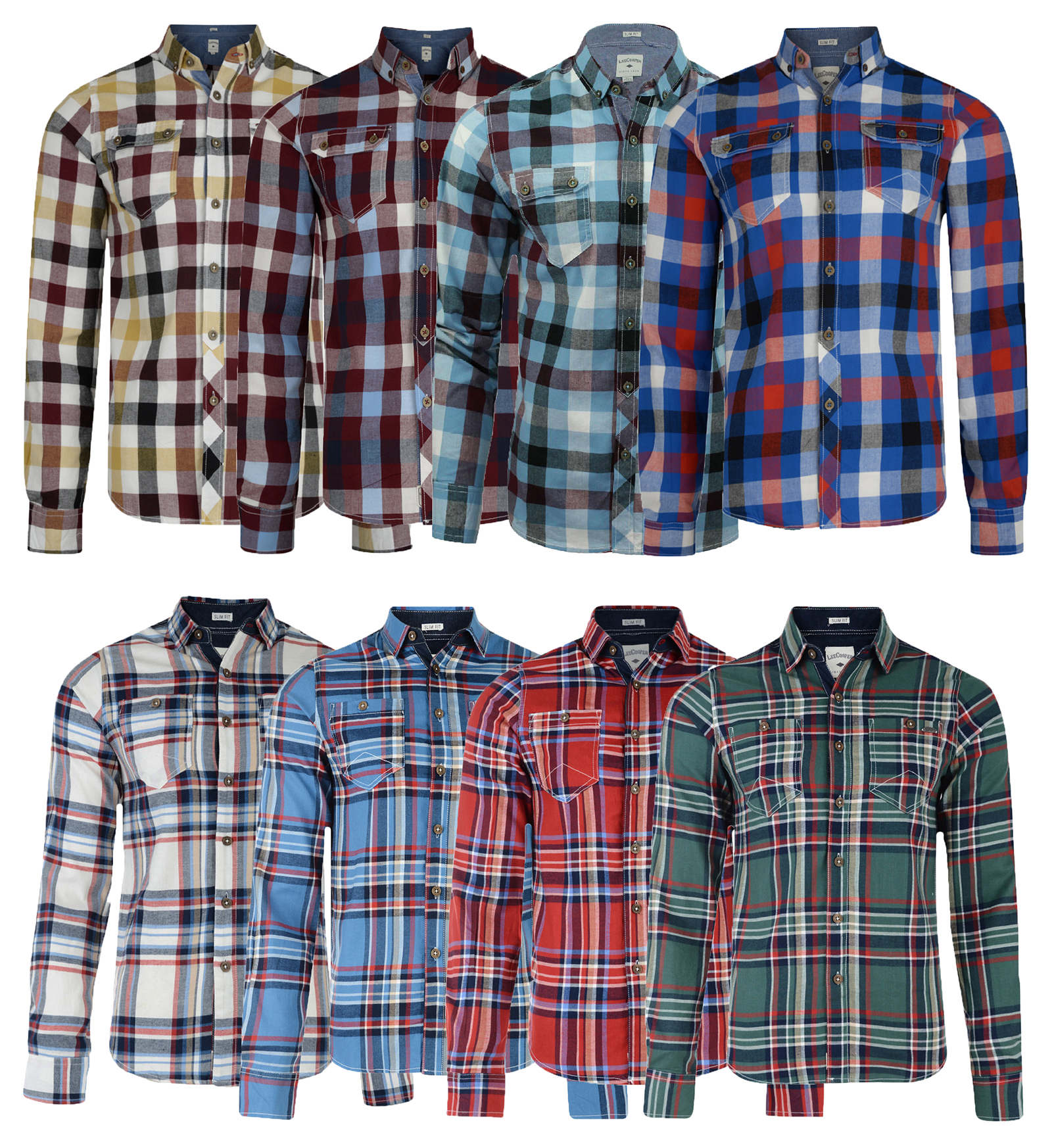 lee cooper new men�s long sleeve cotton check shirt red