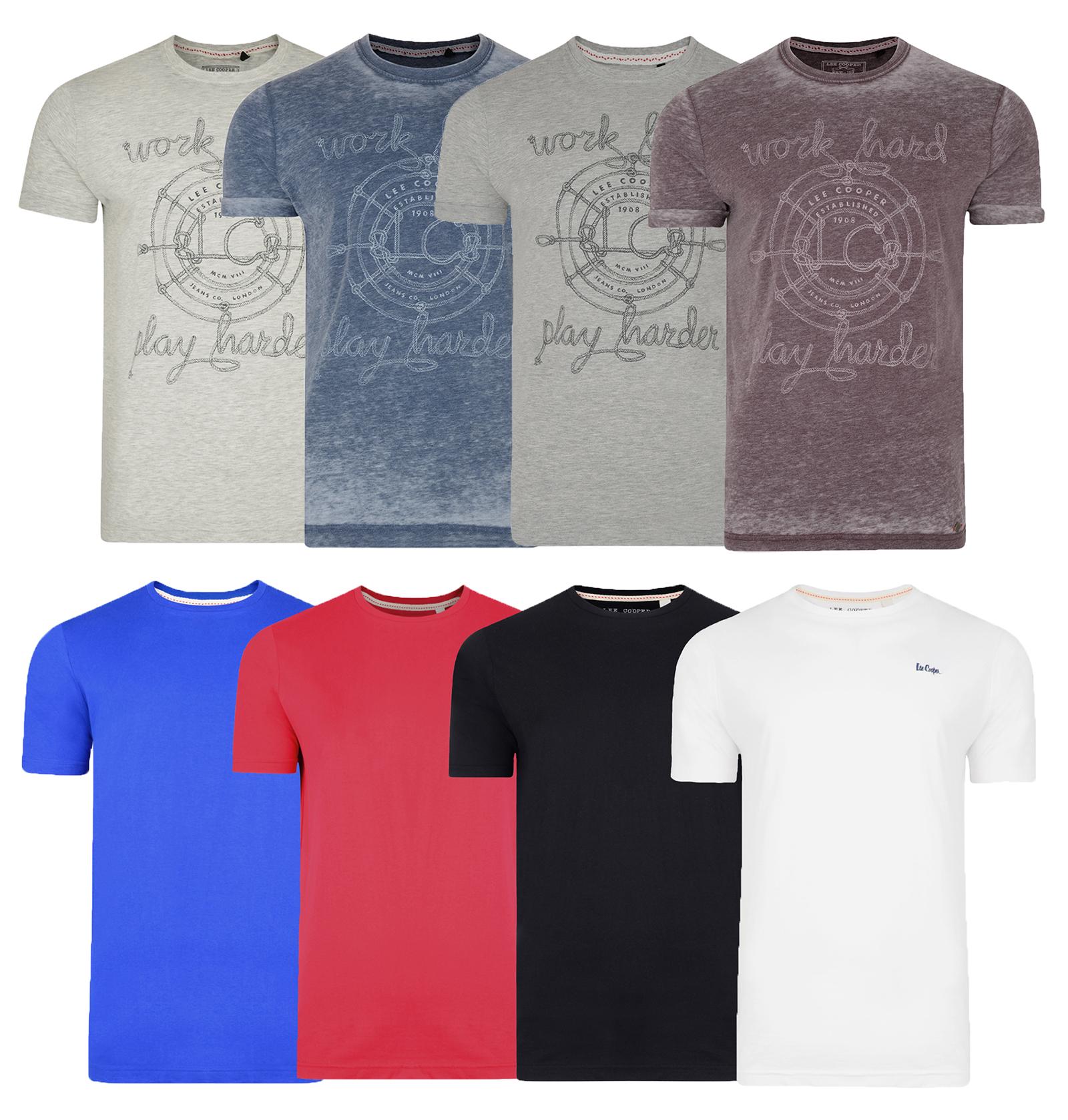 Lee cooper printed plain new men s t shirts cotton plain for Plain t shirts to print on