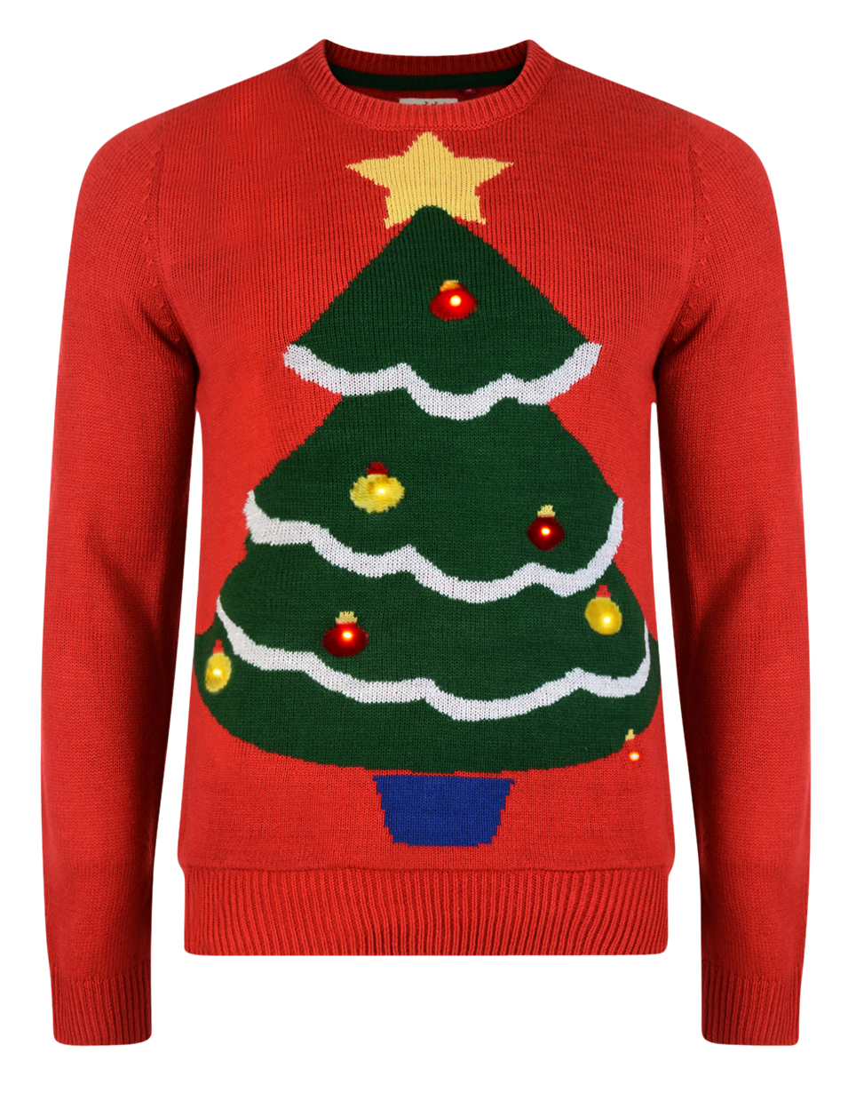 Novelty Christmas Jumpers Knitting Pattern : Christmas jumper novelty led light up knit sweater red